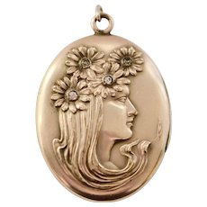 Reserved for Pamela - Art Nouveau Gold Fill Large Oval Locket Lady with Flowers