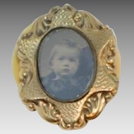 Antique Victorian Gold Fill Photo Mourning Brooch