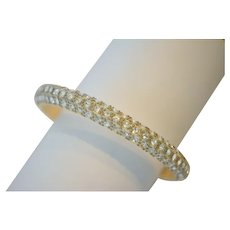 Art Deco Celluloid Rhinestone Bangle Bracelet