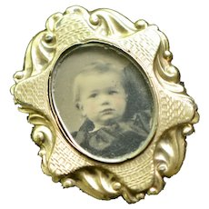 Victorian Mourning Gold Fill Large Photo Brooch, Ornate Frame, 1800s