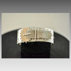 Victorian English Sterling Silver Buckle Cuff Bracelet, 1892 Chester