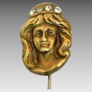 Art Nouveau Gold Fill Lady Stick Pin