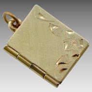 Vintage Gold Fill Book Locket with Engraved Floral Design