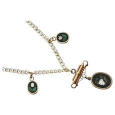 Victorian Pietra Dura Gold Fill Necklace