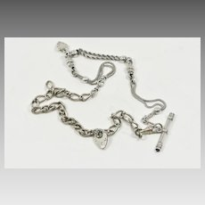 Victorian Sterling and Silver Plate Albertina and Watch Chain Necklace