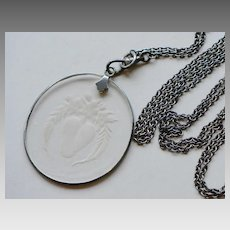 Victorian Gunmetal Etched Glass Pendant Drop Chain with Faux Pearls