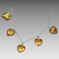 Art Deco Topaz Glass Heart Necklace 1930s