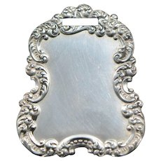 Victorian Repousse Sterling Luggage Tag