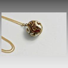 Victorian Gold Fill Enamel Vinaigrette Fob, Victorian Pendant Fob Necklace