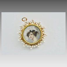 Antique Edwardian 14k Gold Miniature Hand Painted Portrait Pendant Brooch with Pearls
