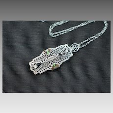 Art Deco Filigree Pendant Necklace, 1920s Necklace, Enamel Necklace, Chromium Necklace