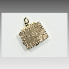 Rare Art Nouveau Rectangular Locket, Floral Style Locket, 1890s Locket