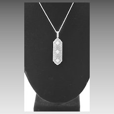 Art Deco Platinum, Diamond and 14k White Gold Filigree Pendant, 1920s Pendant, Wedding, Bridal