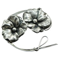 Art Nouveau Large Sterling Silver Double Flower Brooch, Silver Pin, Antique Brooch