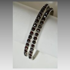 Victorian Bohemian Garnet Pair of Sterling Bangles, Wedding Bracelets