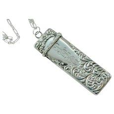Edwardian Sterling Repousse Needle Case Necklace