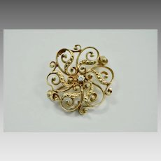Edwardian 14k Gold and Diamond Ribbon Brooch