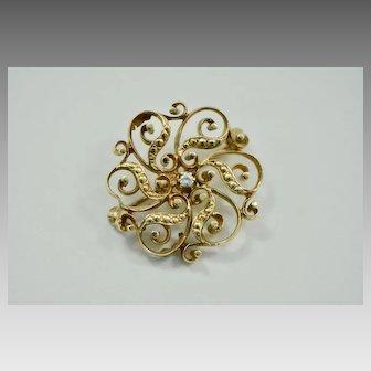 Edwardian 14k Gold and Diamond Ribbon Brooch