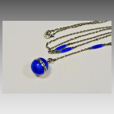 Art Deco Sterling Blue Guilloche Enamel Vinaigrette Y Necklace