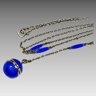 Art Deco Sterling Blue Guilloche Enamel Vinaigrette Y Necklace