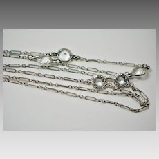 Edwardian Sterling Large Clear Paste Stone Necklace
