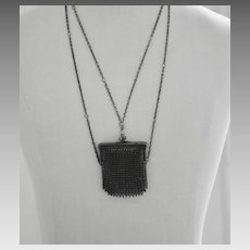 Victorian Gunmetal Muff Chain with Mesh Purse