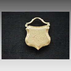 "French Victorian 14k Gold Fob Locket, ""My Friend"""