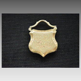 "French Victorian 14k Gold Fob Locket, ""My Friend"""