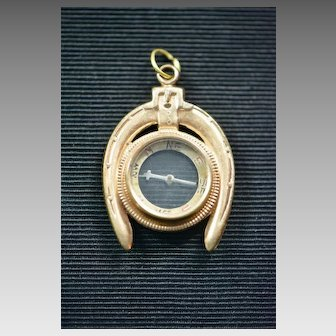 Victorian Gold Filled Horseshoe Compass Pendant Fob, Equestrian