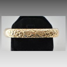Victorian Gold Filled Engraved Floral Bangle