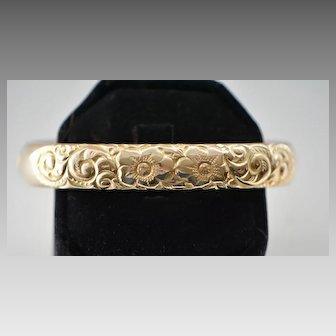 Victorian Gold Filled Engraved Floral Bangle