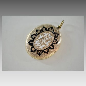 "Victorian Gold Filled Enamel Mourning Locket, ""In Memoriam"""