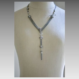 Victorian Sterling Silver Double Watch Chain Necklace with Tassel