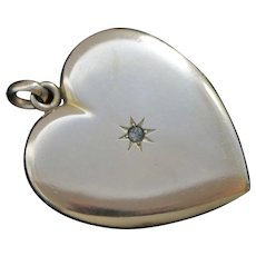 Edwardian Gold Filled Heart Locket with Paste Stone