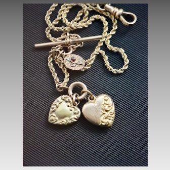 Victorian Gold Filled Double Heart Watch Chain, Bracelet