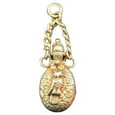Victorian Gold Filled Owl Bunny Fob Charm