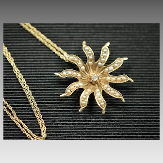 Victorian 14k Starburst Diamond and Seed Pearl Pendant Necklace