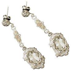Art Deco Chromium Rock Crystal Dangle Earrings