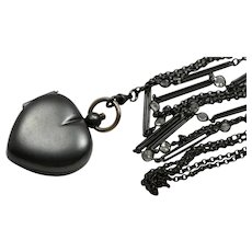 Victorian Gunmetal Paste Stone Necklace with Heart Coin Holder