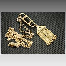 Victorian Gold Filled Onyx and Enamel Fringe Necklace