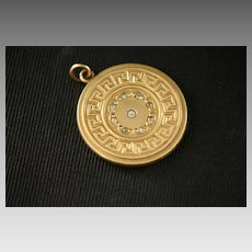 Victorian Gold Filled Greek Key Patterned Round Locket with Clear Paste Stones