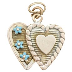 Victorian Double Heart Forget Me Not Charm, Valentine's Day, Sweetheart, 1893