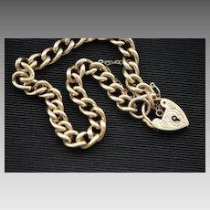 Victorian Gold Filled Padlock Heart Charm Bracelet