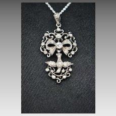 Victorian Sterling Saint Esprit French Paste Pendant Necklace