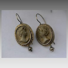 Victorian 14k Gold Lava Cameo Earrings