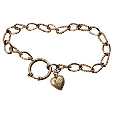 Victorian Gold Fill Fancy Chain Link Bracelet with Heart Charm