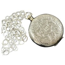 1940s Large Embossed Floral Pocket Watch Cover Locket