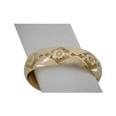 Victorian Gold Fill Wide Floral Engraved Bangle Bracelet