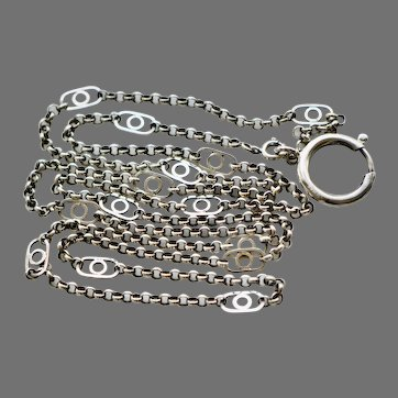 Art Deco White Gold Fill Chain with Large Sterling Spring Ring Clasp, 1920s