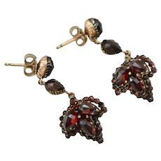 Art Deco Bohemian Garnet Gold Fill Dangle Earrings, 1920s